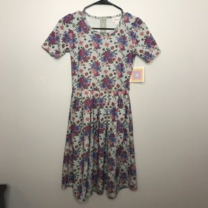 LuLaRoe Gray Floral Amelia Dress